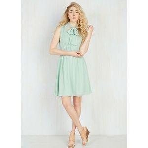 Modcloth Sage Green Chiffon Dress Give It Timeless